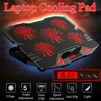 Black Notebook Cooling Pad 5 LED Fans Touch Cooler Stand For 12-17'' Laptop