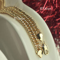 AEIWO 18K YELLOW GOLD GF CURB CHAIN NECKLACE 48.5CM 8MM WIDE FASHION JEWELRY