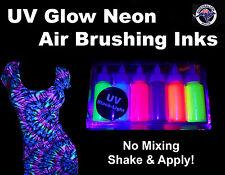 Uv Glow Neon Airbrushing Ink Fabric Air Brushing Ink Air Brush Inks 6 x 50ml