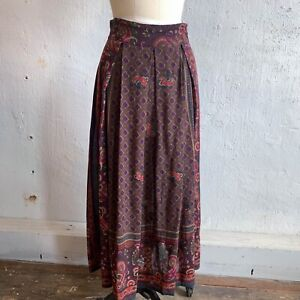 Vtg maxi skirt brown paisley wool blend Italy pleated pockets Size M Wms fashion
