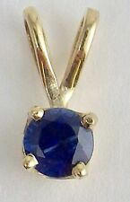 Estate 14K Yellow Gold Round Faceted Blue Sapphire Pendant Petite Size