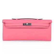 Hermes Kelly Cut Pink Rose Azalee Clutch Bag Swift Palladium New