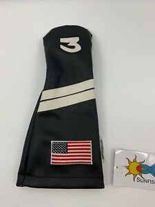 Sunfish Golf Black White Stripes USA 3 Fairway Wood Headcover LEATHER A025