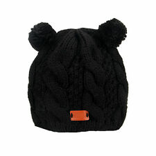 Aran Traditions Womans Ladies Winter Warm Knitted Style Black Bobble Hat