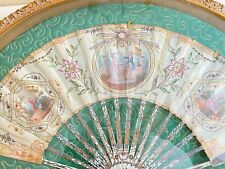 Antique French Framed Hand Painted Silk Fan w/ Sequins Gilt Painted Ribs Ww218