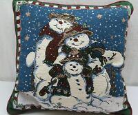 Vintage Snowmen Tapestry Throw Pillow 15 x 15 Snowman Christmas