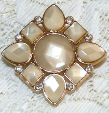 Vintage MONET Gold Tone Pearlized Faceted Glass & Rhinestone Brooch/Pin  Z37*