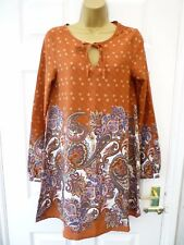 BRAVE SOUL Ladies Size XS 8 - 10 Brown Pink Paisley Floral Tunic Top Mini Dress