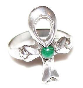 Ankh Ring .925 Sterling Silver Sz 10 Egyptian Ankh w/ custom natural gemstone