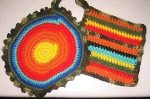 New Handmade Crochet Pair of POT HOLDERS Colorful SERAPE Pattern