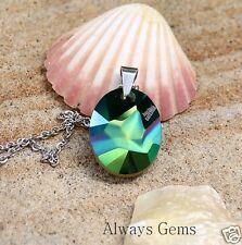 Necklace made with Swarovski Scarabaeus Green Kaputt element JP Gaultier logo