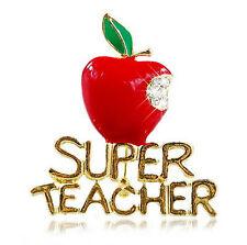 Jewellery Super Teacher Letter Bite Red Fruit Crystal Wedding Brooch Pin  Chic