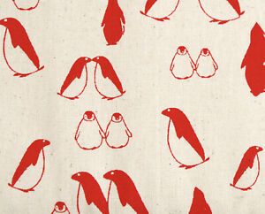 100% Cotton Fabric Red Penguins on Natural Ecru, for sewing and crafts