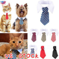 US Gentleman Puppy Striped Tie Necktie Collar Clothes for Dog Cat Pet Supplies