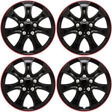 "4 Pc Set of 15"" ICE BLACK / RED TRIM Hub Caps Skin Rim Cover for Steel Wheel Cap"