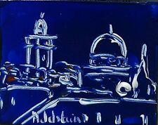 tableau original contemporain peinture Jérusalem Haifa blue