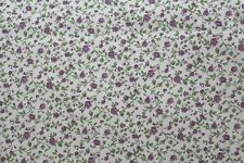 100 % Cotton fabric  ~ White with purple flowers, green vines & leaves ~ BTY