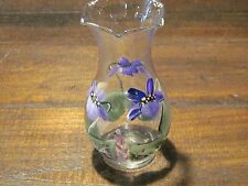 Vintage painted Iris glass 5 inch vase