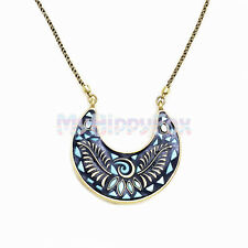 Lucky Brand Gold Tone Turquoise Mosaic Moon Pendant Necklace