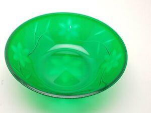 "2 clear plastic acrylic serving bowls 64 oz / 2 qt 10"" x 3.5"" green crystal look"
