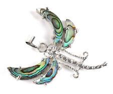 Anhänger Libelle Insekt Flügel aus Abalone Muschel Seeopal versilbert.