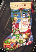 Dimension Santas Toys Shop Window Christmas Eve Cross Stitch Stocking Kit 8818 N