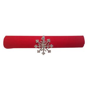 4 Rhinestone Winter Holiday Snow Flake Silver Napkin Rings