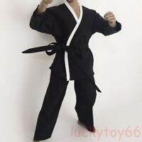 ZY Toys 1/6 Scale Men's Black Judo Suit Kung Fu Uniform Fit 12'' action figure