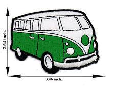 Green Volkswagen Mini Van Bus Model Vintage Classic Applique Iron on Patch Sew