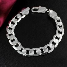 Mens Sterling Silver Curb Link Chain Bracelet Thick Chunky 20cm + Free Gift Bag