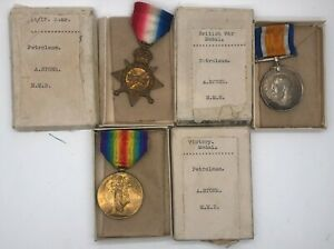 WW1  1914-15 Star medal trio issued to a ship PETROLEUM STONE MMR boxed rarity