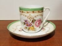 Noritake demitasse cup & saucer, Vintage, Hand painted, floral w green gold edge