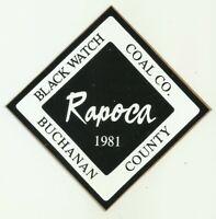 Rapoca Black Watch Coal Co. 1981 Vintage Unused Mining Hard Hat Decal Sticker