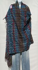Yak Wool|Shawl/Throw|Handloomed|Nepal|Reversible|Base Color: Blue|Red