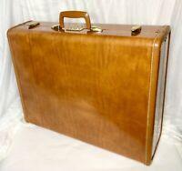 "VTG Shwayder Samsonite Suitcase Saddle Tan Brown Denver USA 24x19x8"" +KEY"