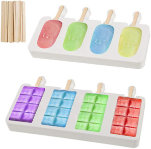 Loveinusa Ice Cream Mold Set, Square Cakesicle Mold Small Popsicle Molds 50 Wood