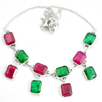 44.03cts Natural Red Ruby Emerald 925 Sterling Silver Necklace Jewelry P76798