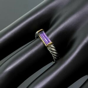 David Yurman 925 Sterling Silver 18K Yellow Gold Amethyst Cable Band Ring Size 7