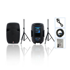 """STARAUDIO Pair 12"""" 2000W Powered PA Active Bluetooth Speakers System DJ Stands"""
