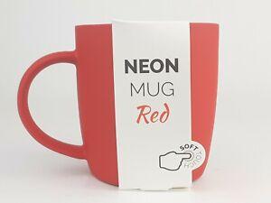 Root7 Neon Red New Bone China Coffee Mug Soft Touch Rubber Finish 350ml BNIB