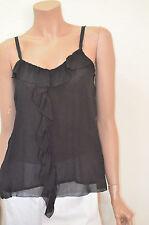 BDB David Bitton Woman's  XS Black Dressy Ruffled Front Camisole Top $59.00 (B3)