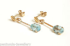 9ct Gold Blue Topaz Drop dangly Earrings Made in UK Gift Boxed