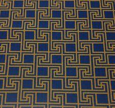 DEC-ART DESIGNS GREEK KEY GOLD YELLOW BLUE GROS POINT VELVET FABRIC BY THE YARD