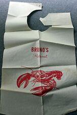 Vintage Lobster Bib Bruno's Restaurant Maine New England 1960s/70s Crustacean