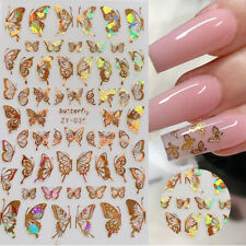 Holographics 3D Nail Sticker Gold Silver Butterfly Nail Art Decals Decorations
