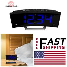 Blue Led Atomic Dual Alarm clock 1.8 in.Curved Bedside Digital Clock