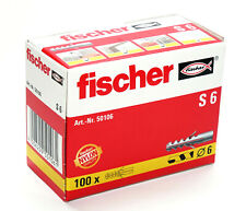 Fischer Wall Plugs S6 Pack of 100   (6mm x 35mm)