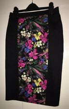 M&S Limited Col high waist black Bright Floral Print Pencil Skirt Size 6 summer