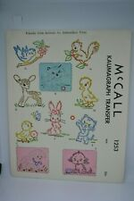1940's McCall Kaumagraph Transfer #1253 Friendly Little Animals