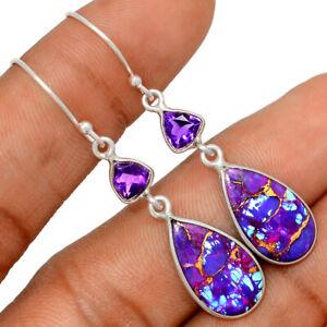 Copper Purple Turquoise, Arizona & Amethyst 925 Silver Earrings BE52648